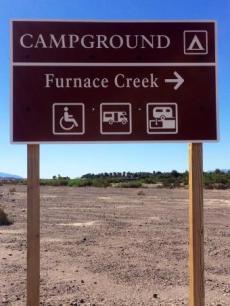 Furnace Creek campground sign